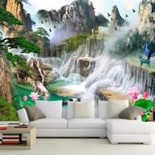 3d wall murals 3d wallpaper for living room bedroom tv sofa background wall waterfall forest landscape