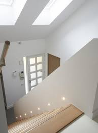 stair lighting. stairs lights note also the metal or reflective strip on front edge of each stair lighting