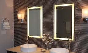 Double Bordered Illuminated Lighted Bathroom Mirror With Great Wall Design  And Decorative Lighting Also Double Steel Sink Faucet Plus Towels Ra