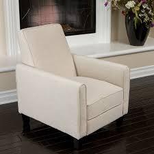 com lucas sleek modern beige fabric upholstered recliner club chair kitchen dining
