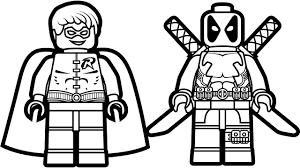 Small Picture Lego Deadpool vs Lego Robin Coloring Book Coloring Pages Kids Fun