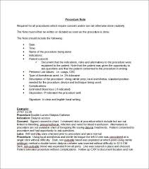 Procedure Note Template Medical Note Template 7 Free Word Pdf Format Download
