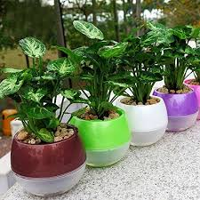 office flower pots. mkono 3pcs self watering planter automatic plant pots pp plastic office flower g