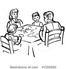 dinner table clipart black and white. royalty-free (rf) family clipart illustration #1222920 by picsburg dinner table black and white