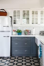 Two Tone Kitchen Cabinet Modern Blue And Copper Edina
