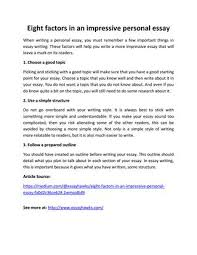 eight factors in an impressive personal essay by essayhawks issuu eight factors in an impressive personal essay when writing a personal essay you must remember a few important things in essay writing