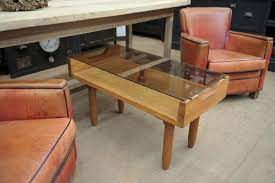 oak coffee table with smoked glass top