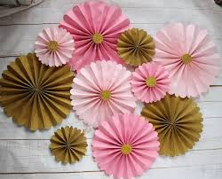 Paper Rosette Flower Aliexpress Com Buy 10pcs Gold Pinwheel Backdrop Romantic Pink