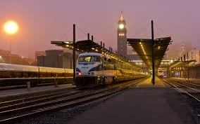 buildings train train station lights