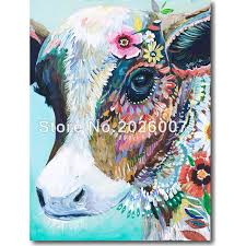 hand painted abstract painting cow art impasto style paintings wali decor oil painting on canvas home
