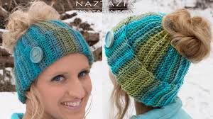 Ponytail Beanie Crochet Pattern Simple DIY Tutorial Crochet Messy Bun Hat Beanie Ribbed Bun Pony Tail