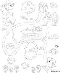 Gioco Per Bambini Labirinto In Bianco E Nero Stock Photo And