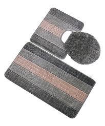 sage green stripe three piece oversize bath rug set