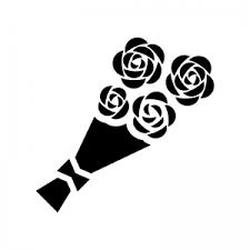 バラの花束のシルエット 無料のaipng白黒シルエットイラスト