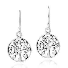 Filigree Heart Tree of Life Sterling Silver Dangle Earrings - AeraVida