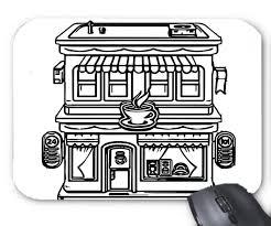 Restaurant Coloring Page Amazon Com Mouse Mat Cartoon Building Restaurant Coloring