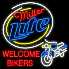 Miller Display Light 2019 Miller Lite Welcome Bikers Neon Sign Custom Real Glass Tuble Light Bar Disco Ktv Club Pub Display Sport Advertisement Racing Sign 24x24 From