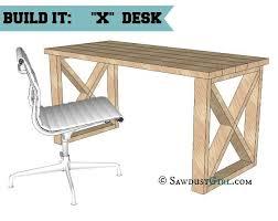 office desk design plans. Free Plans: Sturdy X Leg Office Desk Design Plans