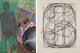 on the left jasper johns summer 1985 and on the right jasper johns
