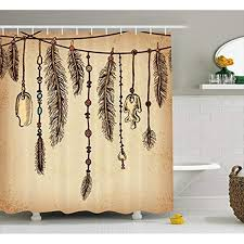 vixm tribal shower curtain bohemian ethnic hair accessories with bird feathers beads on string sketch fabric