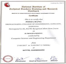Certificate Of Completion Training Beauteous Dronacharya College Of Engineering DelhiNCR Official Website