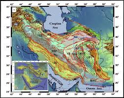 a) Tectonic setting of Iran in the Middle East and presentation of...