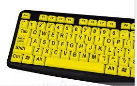 Sarı Ve Beyaz Klavye Ile Büyük Harfler Büyük Oyma Anahtar Kapağı 104 /105  Tuşları Büyük Yazı Tipi Klavye Ofis Için - Buy Sarı Klavye Büyük Harf,Ergonomik  Klavye,Klavye Ile Büyük Düğmeler Product on