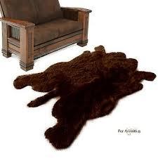 faux fur area rug buffalo hide bear skin realistic designer brown 5