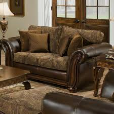 Two Tone Living Room Furniture Simmons Upholstery 8104 Leather And Chenille Chaise Royal