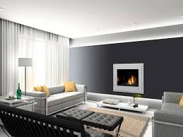 minimalist image of living room decoration using built in fireplace contempo modern black and white