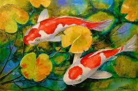 koi fish paintings impressionism animals nature canvas oil painting