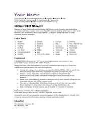 Social Media Resume Example Social Media Manager Cv Template