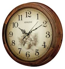 adalene 14 inch wall clock large decorative living room clock quiet battery operated quartz og silent wood wall clock round sepia flower dial with
