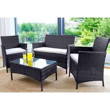 details about rattan garden furniture set 4 piece chairs sofa table outdoor patio set