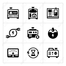 Set Icons Of Electrical Generator Isolated On White. Vector Illustration  Stock - 53426149 123RF.com