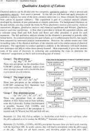 Chemistry Qualitative Analysis Flow Chart Qualitative Analysis Of Cations Pdf