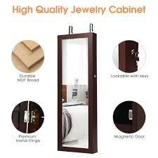 costway wall mount mirrored jewelry