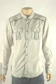 Bke Buckle Western Style Cream Gray Double Pocket Button Up Shirt Mens Size Xl Ebay