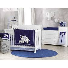decoration using blue elephant baby boy bedding crib set including round light blue rug for baby room and light gray baby room wall paint image