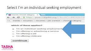 Select I'm an individual seeking employment ...