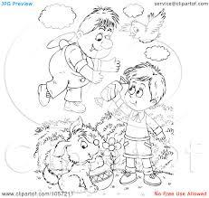 royalty clip art illustration of a coloring page outline of a royalty clip art illustration of a coloring page outline of a boy sharing candy a flyer man by alex bannykh