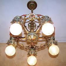 979 vintage 20s 30s ceiling light fixture art nouveau poly chrome chandelier