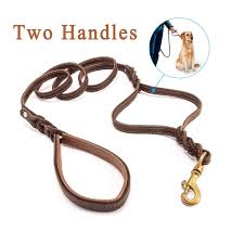 focuspet heavy duty leather dog leash with 2 handles padded traffic handle for extra control