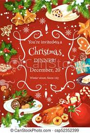 christmas dinner poster christmas dinner invitation with festive dishes christmas holiday
