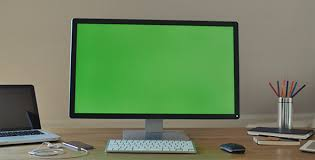 Computer Screen Mockup Big Pc Display With Green Screen For Mock Up