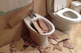 the damaged bathroom after mr o rourke took a shower and the tiles fell off