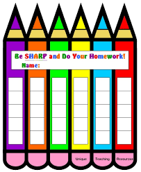 Homework Chart Template For Teachers Free Sticker Chart Download Pencil Shaped Sticker Chart