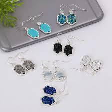 acrylic chandeliers for uk hot geometric natural stone drusy dangle designer druzy drop