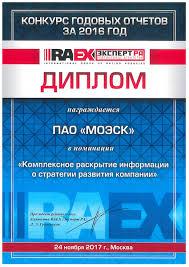 Годовой отчет МОЭСК признан лучшим в номинации Комплексное   конкурса годовых отчетов рейтингового агентства raex РАЭКС Аналитика в номинации Комплексное раскрытие информации о стратегии развития компании