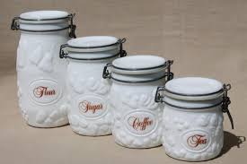 vintage milk glass canister set wheaton country orchard kitchen canister jars
